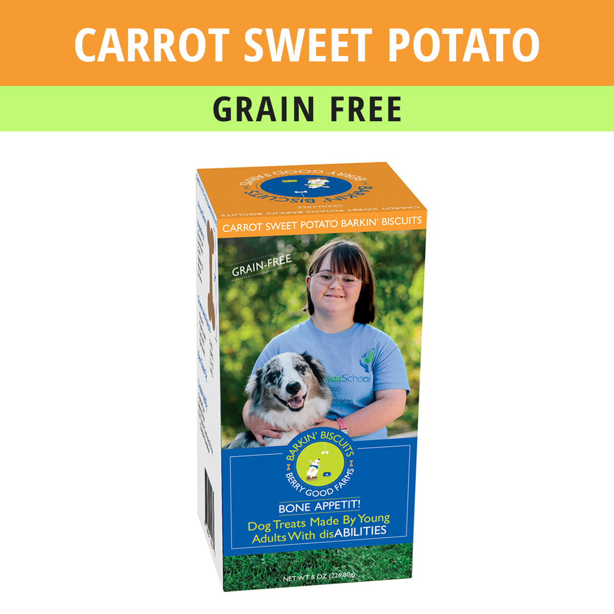 grain free dog treats - barkin biscuits carrot sweet potato